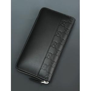 グッチ GUCCI ブラックレザー マット質 グッチシマ GUCCISSIMAコンビ 2フェイス 革の引き手が大きいジップアラウンド ウォレット メンズ長財布ギフトアイテム