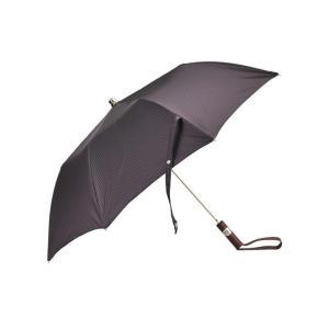 マリア フランチェスコ 折り畳み傘 Maglia Francesco パープル&シルバーのベスト配色の気品溢れるストライプ柄携帯アンブレラ、カバーケース付き deradera