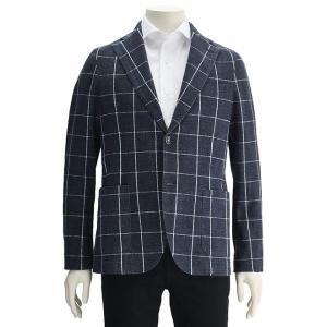 898d8bbd45751 チルコロ 国内正規品 CIRCOLO1901 メンズ シングルジャケット ウィンドウペンチェック プリントジャージ インディゴブルー 2つボタン 春夏