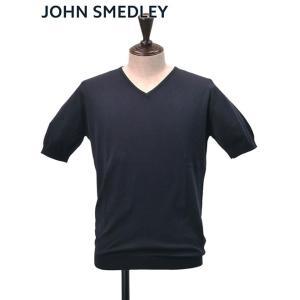 ジョンスメドレー JOHN SMEDLEY メンズ コットンニット ネイビー 半袖 BRAEDON ...