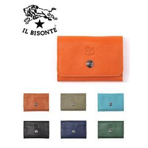 イルビゾンテIL BISONTE ボタン留カードケース レザー製 名刺 レディース兼用 イタリアブラ...