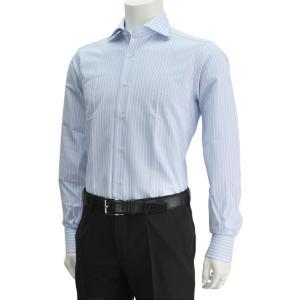 ボンサー  サックスブルー&ホワイト ストライプシャツ メンズワイシャツ ハニカム柄ミックス ホリゾンタル襟カラー deradera