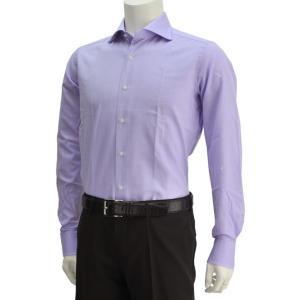 ボンサー  ラベンダーブル−カラー メンズドレスシャツ オックスフォードコットン ホリゾンタルカラー イタリア deradera