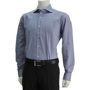 ボンサー  ネイビー&ホワイト 紺白 極細ストライプ メンズドレスシャツ ブロードコットン ホリゾンタルカラー イタリア deradera