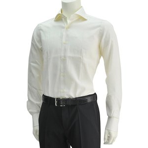 ボンサー  クリームイエロー  織りストライプ柄 メンズドレスシャツ ブロードコットン ホリゾンタルカラー イタリア deradera