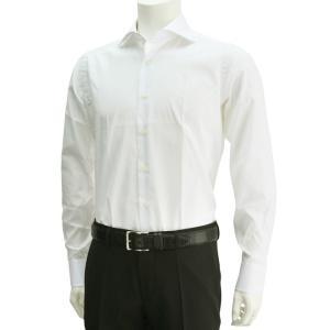 ボンサー  カジュアルシャツ 白ホワイト メンズ長袖 BONSER ストレッチコットン ホリゾンタル衿 メンズ deradera