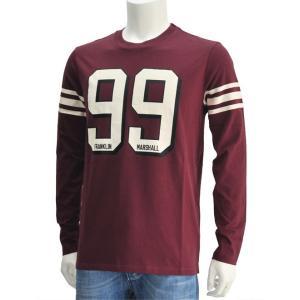 フランクリン&マーシャル ワイン系 99&スモールブランドネームプリント ラガーシャツ風クルーネック長袖Tシャツ|deradera