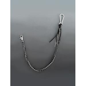 ディーダミコ  D'AMICO ブラックレザー&シルバーチェーン W鎖と一本の革紐の編み込み 丸紐デザイン ウォレットチェーン|deradera