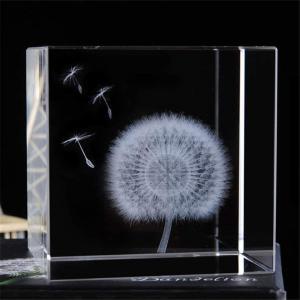 SandC Live クリスタル3Dタンポポ標本 クリスタルガラスキューブ 60 お誕生日プレゼント インテリア雑貨 置物 オブジェ 飾り物 癒しグ|design-life