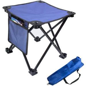 アウトドアチェア 折りたたみ椅子 コンパクト イス 持ち運びやすい超軽量 キャンプ お釣り 登山 お花見 収納袋付背もたれなし, ブルー design-life