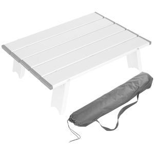 ロールテーブル アウトドア テーブル キャンプ ソロ アルミ 40.5×29×12cm 超軽量0.6kg 耐荷重15kg ミニ 小型 ケース付 折りた design-life