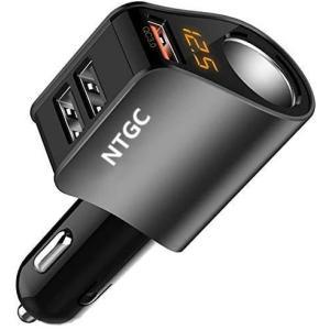 カーチャージャー シガーソケット USB車載充電器 分配器 QC3.0 80W/5V 3USBポート 急速充電 LED付 オート電圧測定 スマート識別|design-life