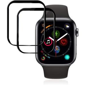 スクリーンプロテクター Apple Watch 44mm シリーズ 6/5/4 and Apple Watch SE 44mm 最大カバレッジ 気泡防 design-life