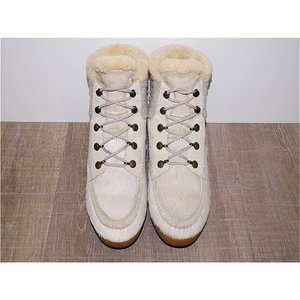 1点物 ITALY製 TECNICA カウハイド ファーブーツ 白 23,5cm 37 【中古】 【高級本革】 【靴】 【ブーツ】 【海外セレブ愛用】  【全国送料無料】 design-s