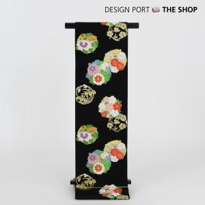 川島織物謹製 七五三 七歳用袋帯 祝帯 春秋盛花 黒 1II853500