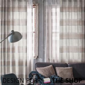 Rough(ラフ)ドレープカーテン ユルメナボーダー(グレー)幅67〜400cm×丈60〜280cm 川島織物セルコン RHF013|designport