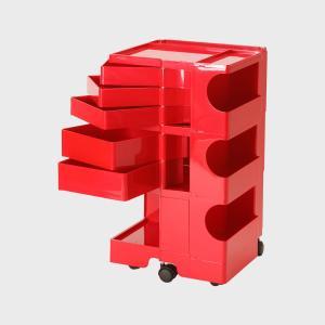 キャッシュレス還元 boby wagon ボビーワゴン 3段5トレイ 赤  正規保証2年|designshop-jp