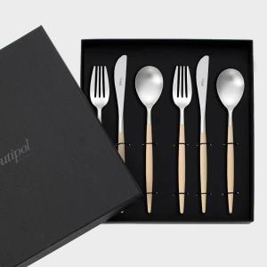 国内正規品 Cutipol クチポール MIO ミオ ディナー6本セット アイボリー×シルバー Ivory×silver  ご自宅で ギフトに クチポール カトラリー|designshop-jp