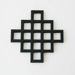 キャッシュレス還元 南部鉄器 釜定 鍋敷き 格子パネル 大|designshop-jp