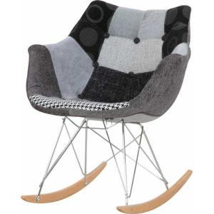 パッチワークデザイナーロッキングチェア BK ブラック fj-65018|designstyle