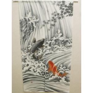 日本画風 縁起物のれん 鯉の滝登り グレー 85×150cm ike-2488451s1|designstyle
