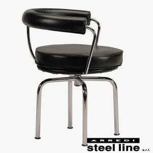 ル・コルビジェ LC7 ターナブルアームチェア レザー イタリア製 stl-428|designstyle