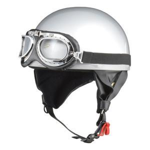 LEAD リード工業 CROSS CR-751 ビンテージハーフヘルメット シルバー | ハーフ ヘルメットビンテージ 原付 カブ ゴーグル 交換 イヤーカバー 大きい サイズ|desir-de-vivre