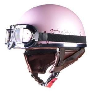 LEAD リード工業 Street Alice QH-4 ハーフヘルメット ピンク×フラワー | ハーフ ヘルメット かわいい シールド ビンテージ ゴーグル キャップ 通勤 通学|desir-de-vivre