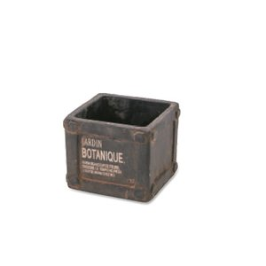 ポット S ブラウン セメント W9.5 D9.5 H7.5cm|desir-de-vivre