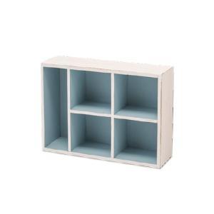 パーテーションボックス L ブルー 杉 W25 D35 H10cm|desir-de-vivre