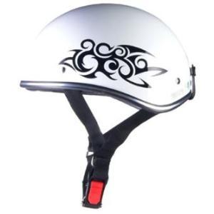 LEAD リード工業 D'LOOSE D-356 ハーフヘルメット ホワイトトライバル | ハーフ ヘルメット 原付 インナー 交換 ワンタッチ 半帽 定番 人気 個性的 キャップ|desir-de-vivre