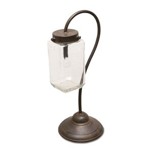 LEDスタンドランタン ガラス アイアン W17 D16 H42cm|desirdevivre-zacca