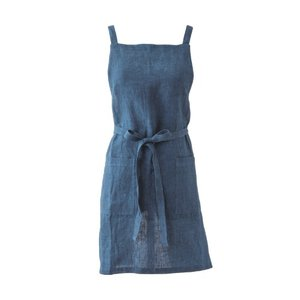Menage エプロン ブルー リネン W83 H74cm|desirdevivre-zacca