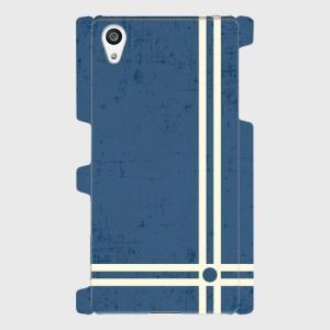 レトロ ストライプ 青色 Android アンドロイド スマホケース ハードケース|dezagoods