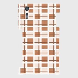 チェック柄 クリーム色 Android アンドロイド スマホケース ハードケース|dezagoods