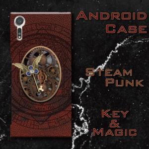 スチームパンク調 歯車 鍵 機械仕掛け 魔法 マジック レトロ アンティーク調 Android アンドロイド スマホケース ハードケース|dezagoods