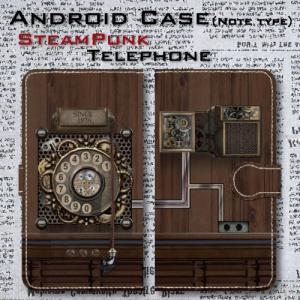 スチームパンク調 歯車 電話機 機械仕掛け レトロ SF アンティーク調 Android アンドロイド 手帳型 ケース|dezagoods