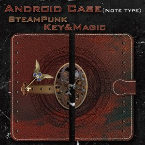 スチームパンク調 歯車 鍵 機械仕掛け 魔法 マジック レトロ アンティーク調 Android アンドロイド 手帳型 ケース|dezagoods