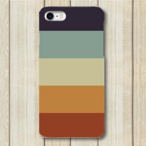 レトロ ストライプ 紺色 水色 薄緑色 橙色 赤色 iPhone アイフォン スマホケース ハードケース dezagoods