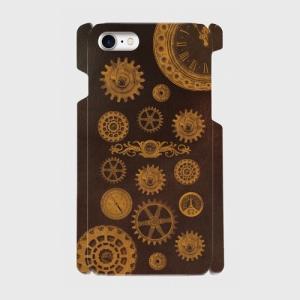 スチームパンク 古時計 gear 004 焦げ茶 歯車 iPhone アイフォン スマホケース ハードケース|dezagoods