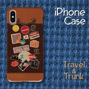 レトロ調 スーツケース調 トランク調 レザー調 旅行 トラベル ビンテージ調 iPhone アイフォン スマホケース ハードケース|dezagoods