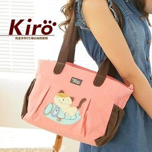 KIRO  可愛い猫と鯉パッチワークショルダーバッグ (ソフトピンク)|dgmode