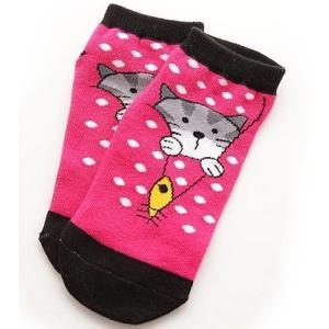 KIRO 可愛いネコ綿ショートソックス(ピンク+ブラック) 1足|dgmode