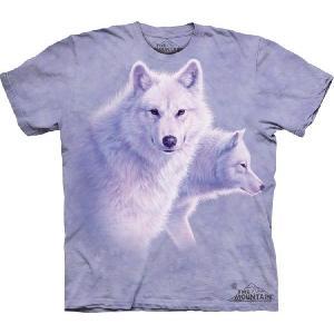 【THE MOUNTAIN】【動物 Tシャツ】(優雅な白き狼) Graceful White Wolves【Lサイズ】 dgmode