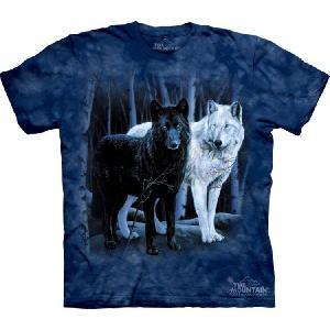 【THE MOUNTAIN】【動物 Tシャツ】(黒き狼&白き狼) Black & White Wolves【Sサイズ】 dgmode
