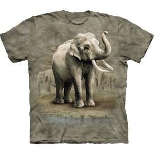 【THE MOUNTAIN】【動物 Tシャツ】(ゾウ×水飲み) Asian Elephants【Mサイズ】 dgmode