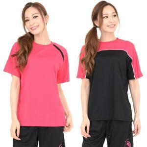 レディースのスポーツウェアーです♪♪ 吸汗速乾の半袖Tシャツ 2種類の切替の6色バリエーション スポ...