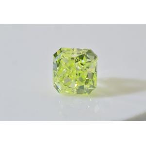 癒しグリーン!0.3カラットグリーンイエローダイヤ四角いラディアントカット GIA鑑定書つき|diadia