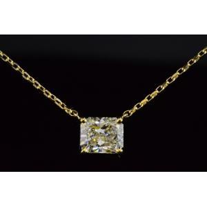 1カラットダイヤ一粒ネックレスラディアントカットダイヤネックレスイエローゴールドが華やかで使いやすい!品質以上の輝きと満足感をお届け!GIA鑑定書つき|diadia