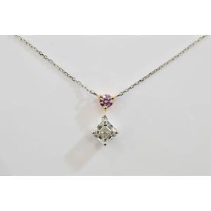 アッシャーカット ダイヤ斜め一粒ネックレス アーガイル産ピンクダイヤがポイント|diadia